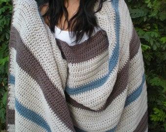 Crochet Afghan, Beach Blanket, Crochet striped Blanket,  Striped crochet blanket, striped blanket, oversized throw