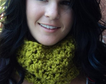 Crochet scarf/Cowl/Gift/lime green/