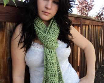 Crochet Scarf/ lime green scarf