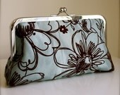 Velvet Flocked Daisy Clutch in Brown and Blue- Ready to Ship