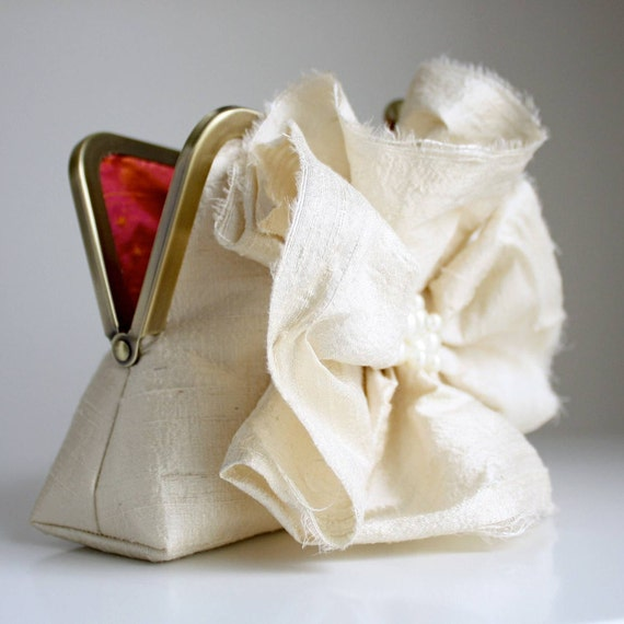Ruffled Silk Flower Clutch with Pearls and a Bright POP of Strawberry Orange Sangria - Ready to Ship