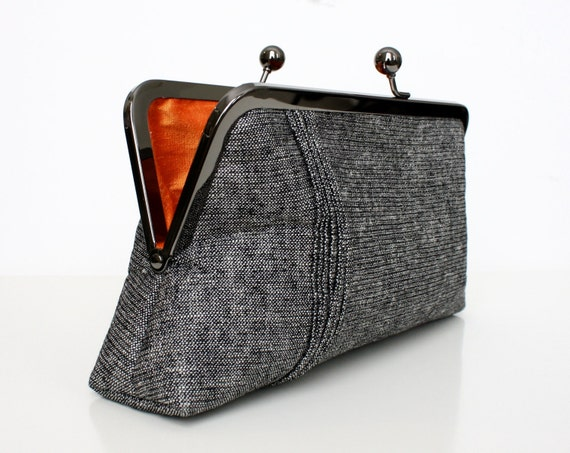 Black and Gray Glitter Linen Clutch with Pintuck Stitching and Clementine Orange Silk Lined- Ready to Ship