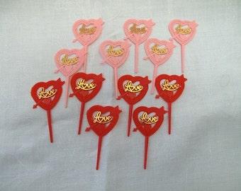 12 Vintage Valentine Cupcake Cake Topper Picks Hearts Love