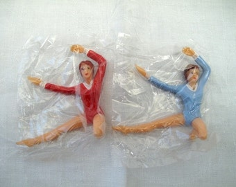 Set 2 Female Gymnast Vintage Cake Toppers