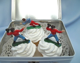 6 Football Players Cake Cupcake Toppers Vintage