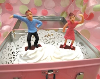2 Sets Boy Girl Disco Dancing Vintage Cake Cupcake Toppers