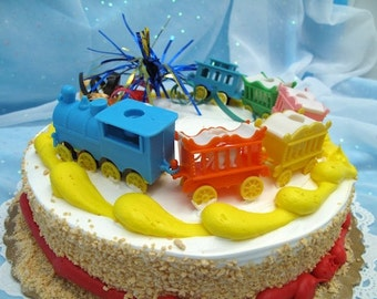 Vintage Cake Topper Birthday Candle Circus Train