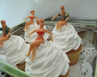 6 Vintage Cake Cupcake Toppers Girls Guys in Swim Suits Bikinis