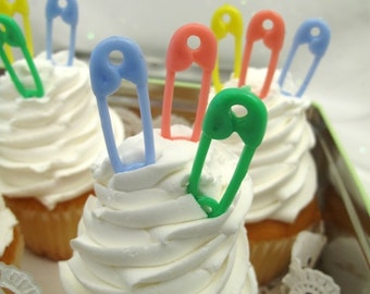 24 Mini Baby Pins Diaper Pins Cake Cupcake Toppers