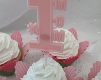 3 Number 1 Mom Cake Cupcake Toppers Floral Picks Mothers Day