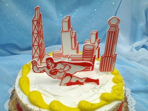 Vintage Cake Cupcake Topper Set Superman Candle Holders Wilton 1976