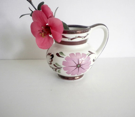 Vintage Pink Copper Luster Pitcher Handpainted Miniature English Pearlware Pottery