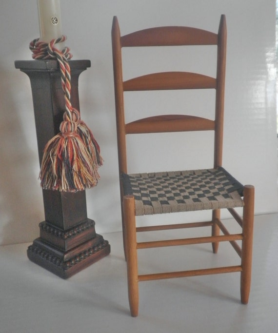 Vintage Chair Blue White Woven Shaker Seat Early American Bear Doll