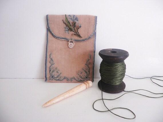 RESERVED.  ETUI Antique Sewing Needle Case Petit Point Needlepoint Needlework