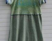 The Little Green Dress-Upcycled Cap Sleeve Dress- size 7/8