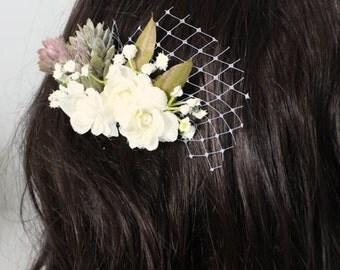 Creamy ivory champagne flower bouquet fascinator, comb, headpiece
