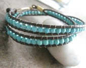 WrapAround - Beaded Leather double wrap bracelet - Turquoise and Brown Leather