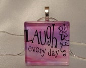 Laugh Glass Tile Pendant Necklace