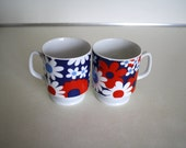 Perfectly Patriotic: Vintage floral mugs in red, white and blue