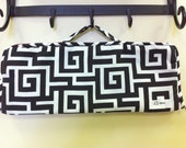 Extra Large Flat iron/Curling iron case in black-n-white maze print.