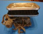 Vintage 2 Barrel Automobile CARBURETOR Ford / Motorcraft With Chrome Air Cleaner