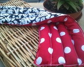 "Herbal Heat Pack 7""x20"" - Black and White Damask Red White Polka Dots"