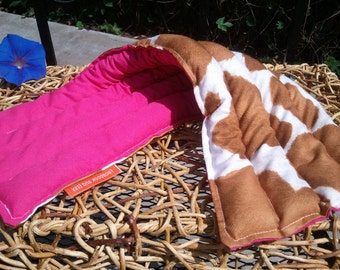 """Animal Print Hot Pink Brown Beige Cow Microwaveable Heating Pad 7""""x20"""" - Lavender from France - Calico"""