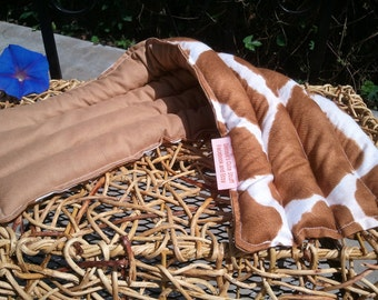 """Therapy Pack Brown Beige Cow Microwaveable Heating Pad 7""""x20"""" - Lavender from France - Calico"""