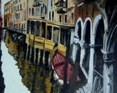 Sale 10% Off Venice  Original Painting 14x18 Acrylic on Canvas