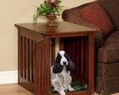 Wooden Dog Crate Puppy End Table in Solid Maple Wood Furniture Amish Made Kennel