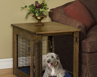 Pet Furniture Wooden Dog Crate Wood End Table Kennel In Oak Wood