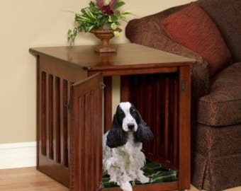Wooden Dog Crate Puppy End Table In Solid Maple Wood~ Decorative Dog Crate  Side Table