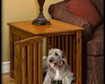 End Table Dog Crate Oak Wood Oak or Maple Puppy Night Stand