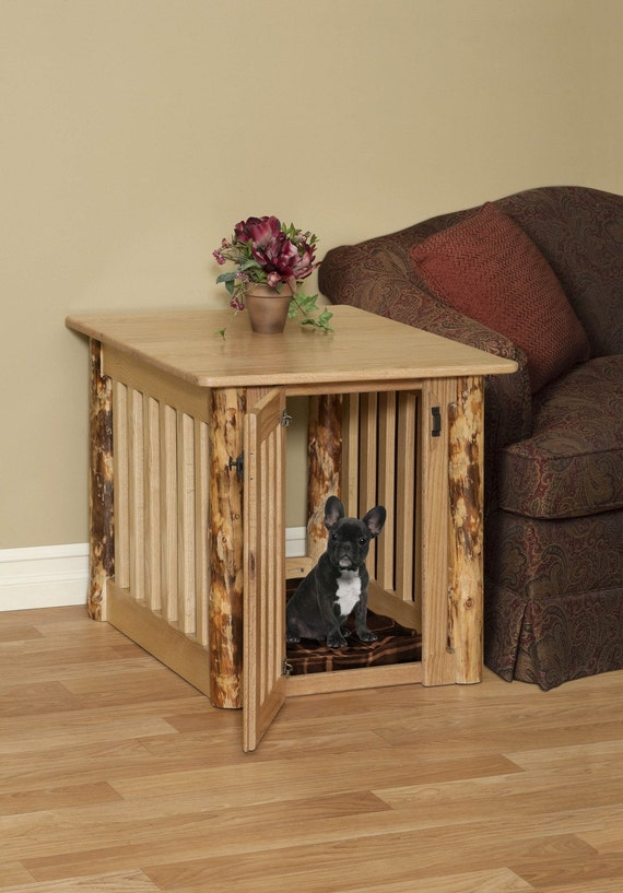 Medium Wood Dog Crate End Table With Log Post By Pinnaclewc