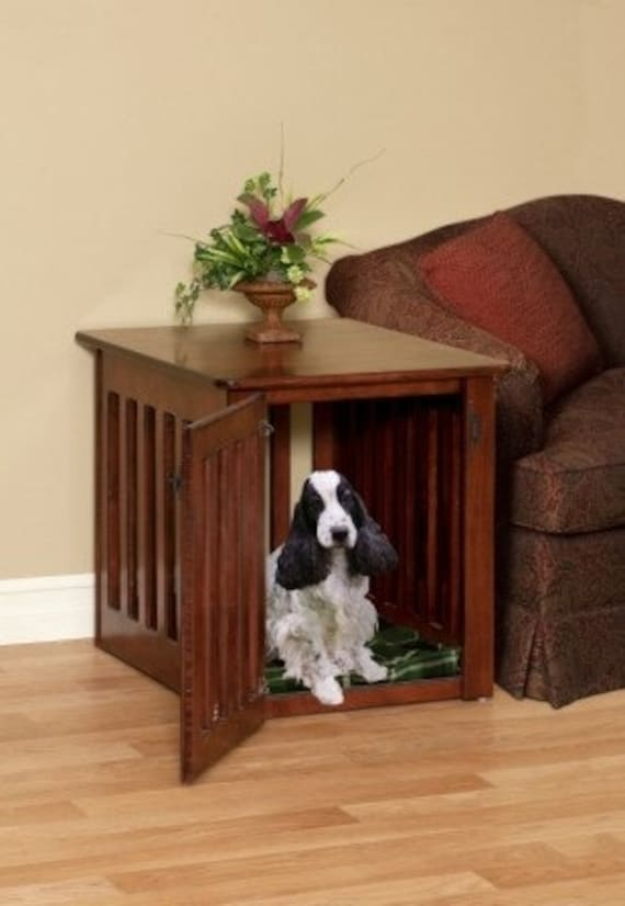 Large Wooden Dog Crate End Table in Maple Wood For Heather