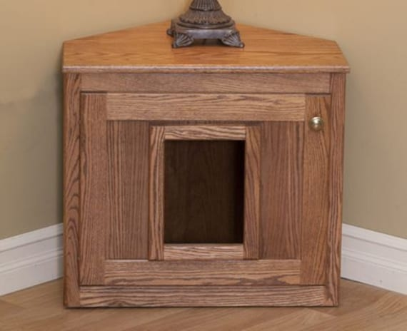 Hideaway Litter Box Cat Litter Furniture Oak Wood Hidden