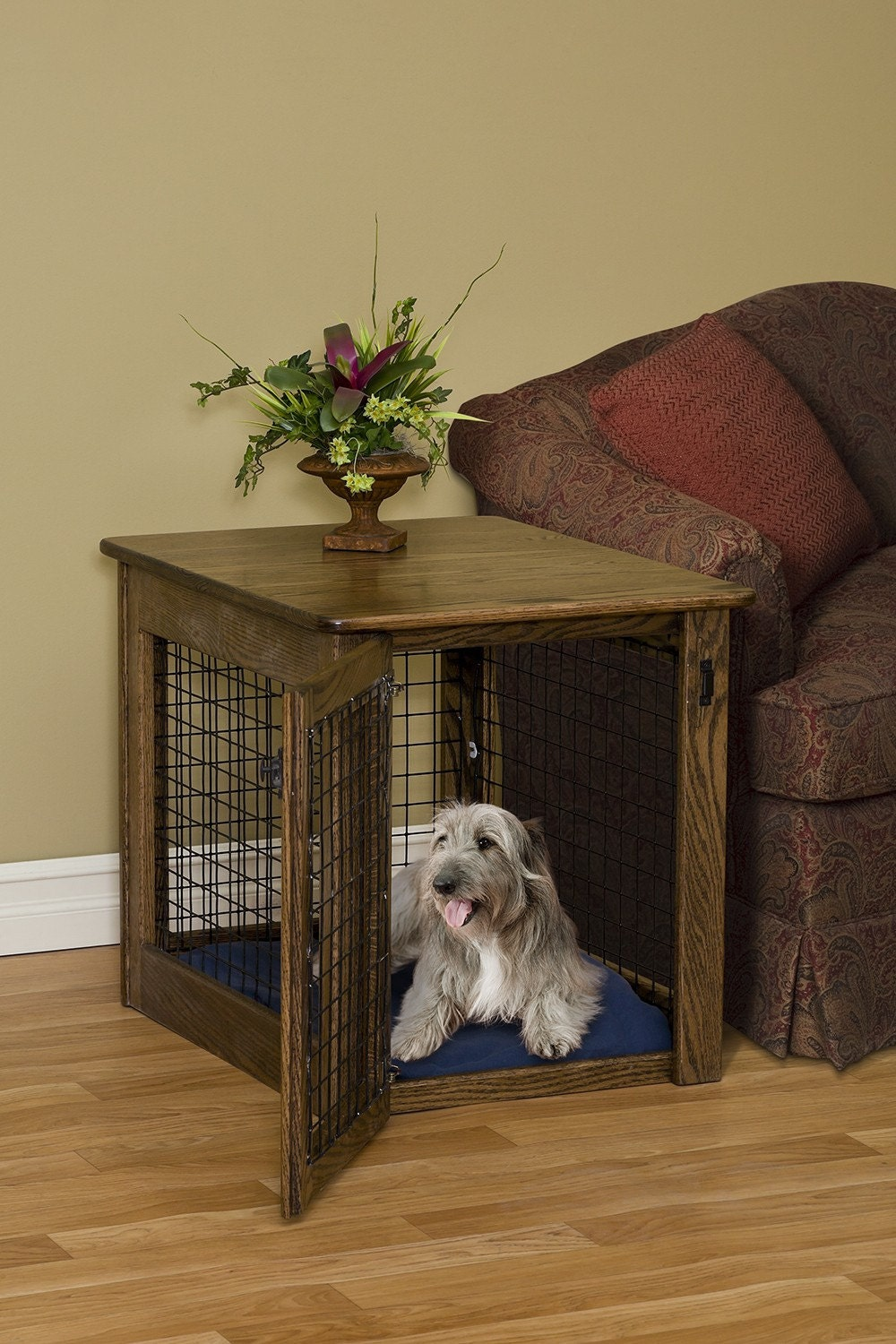 Pet Furniture Wooden Dog Crate Wood End Table Kennel In Oak