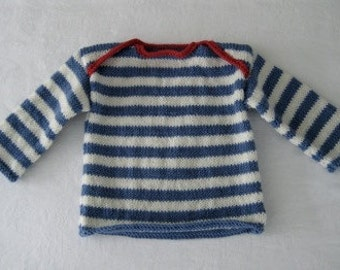 Beautiful pure wool striped sailor sweater..... 100% pure wool....made in New Zealand....