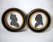 Silhouettes of George and Martha Washington by Sidney Z Lucas Last Chance On Sale