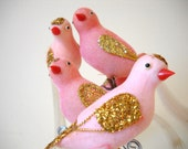Vintage Pink Flocked with Gold Glitter and White Nylon Tails 16