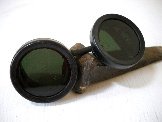 Black Welding Goggles Green Tint Lens Well Used for an Authentic Look