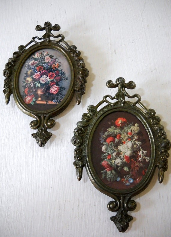 2 Italian Floral Still Life Prints with Matching Metal Frames