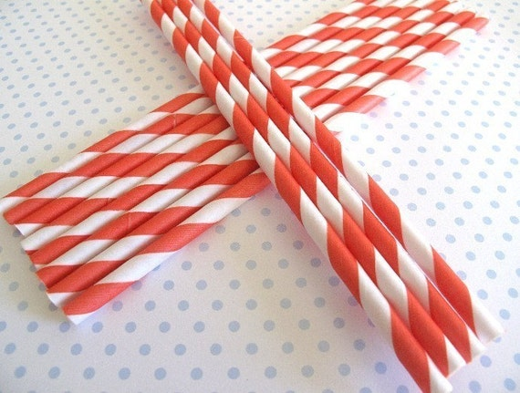 48, Red Stripe Paper Straws