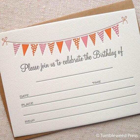 Letterpress Birthday Invitations - Bunting Pink
