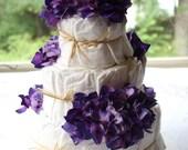 Purple Hydrangea - 3 Tier Diaper Cake - Diaper Displays