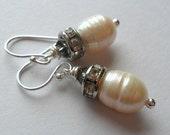 Gray. Sparkling Pearl. Sterling Silver Earrings