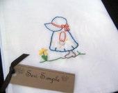 Flour Sack Tea Towel Country Girl  Hand Embroidered