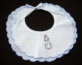 Hand Embroidered Peter Rabbit Bib, FREE Shipping