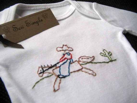 Cowboy Onesie Hand Embroidered, FREE Shipping