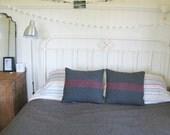 cushion wool blanket rustic grey red stripe - SAMPLE PAIR